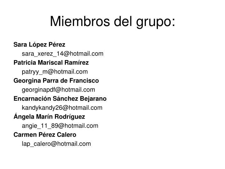 Miembros del grupo: