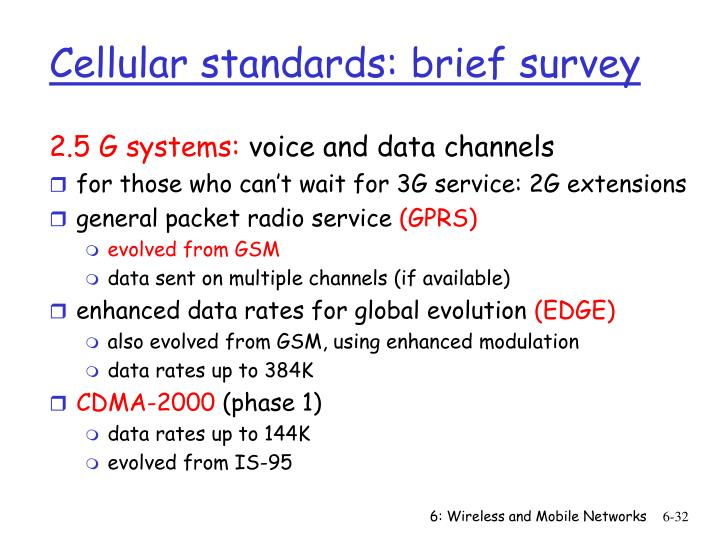 Cellular standards: brief survey