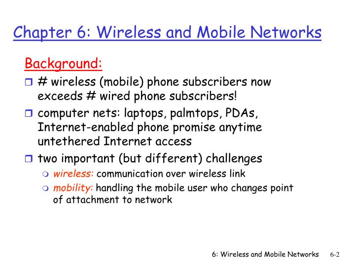 Chapter 6 wireless and mobile networks