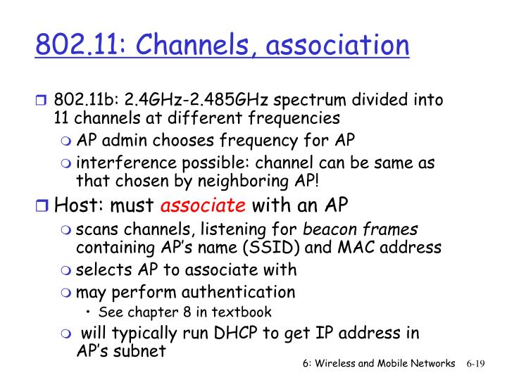 802.11: Channels, association