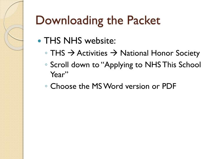 Downloading the packet