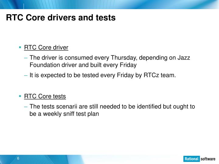 RTC Core drivers and tests