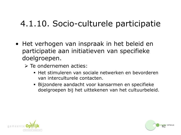 4.1.10. Socio-culturele participatie