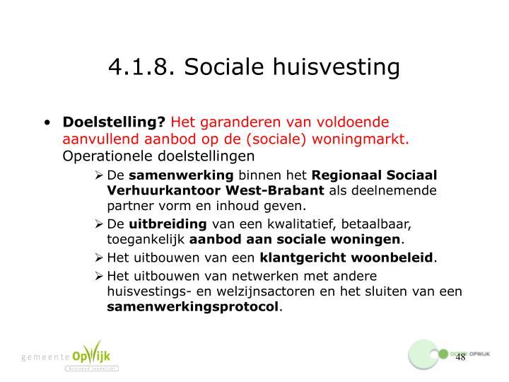 4.1.8. Sociale huisvesting