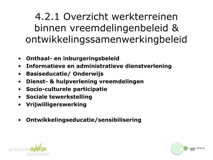 4.2.1 Overzicht werkterreinen binnen vreemdelingenbeleid & ontwikkelingssamenwerkingbeleid