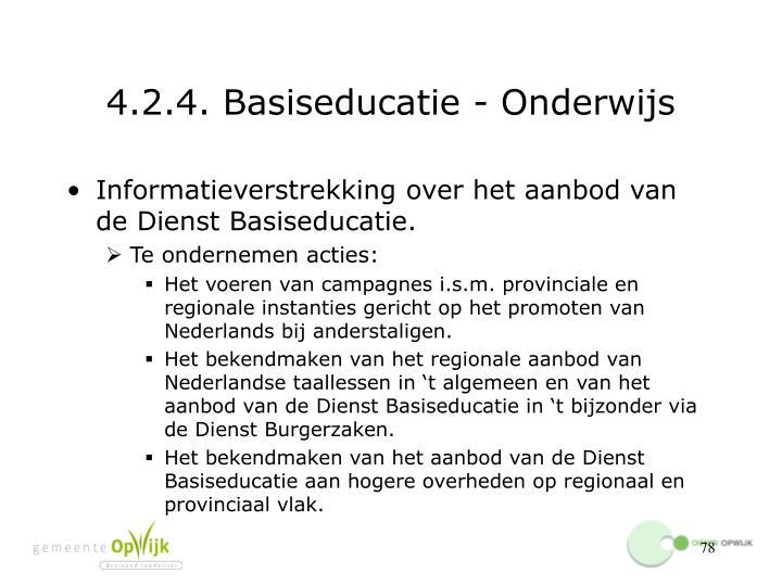 4.2.4. Basiseducatie - Onderwijs