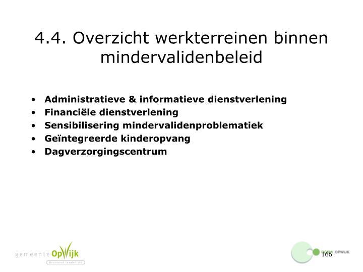 4.4. Overzicht werkterreinen binnen mindervalidenbeleid