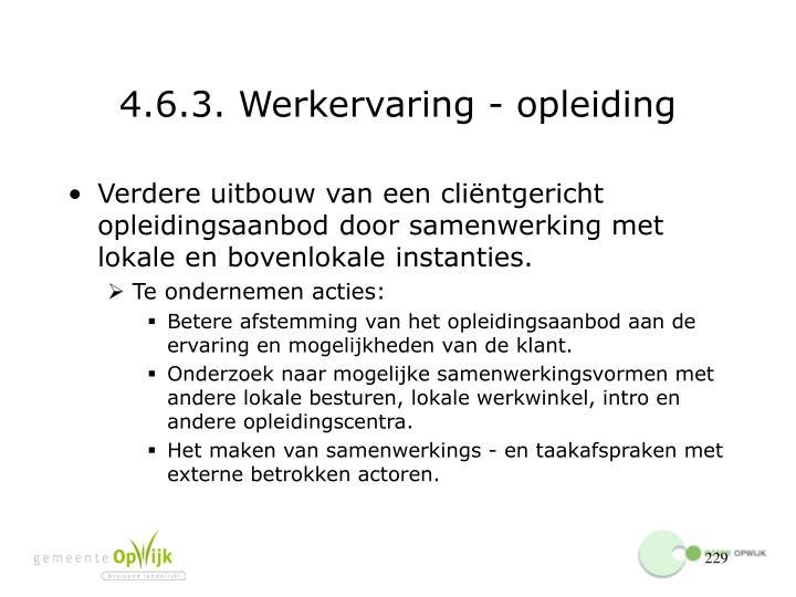 4.6.3. Werkervaring - opleiding