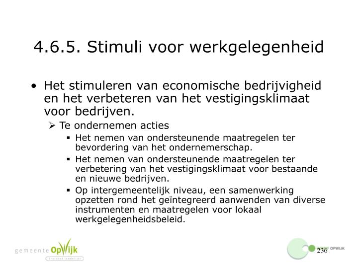 4.6.5. Stimuli voor werkgelegenheid