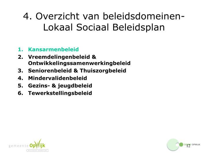 4. Overzicht van beleidsdomeinen- Lokaal Sociaal Beleidsplan