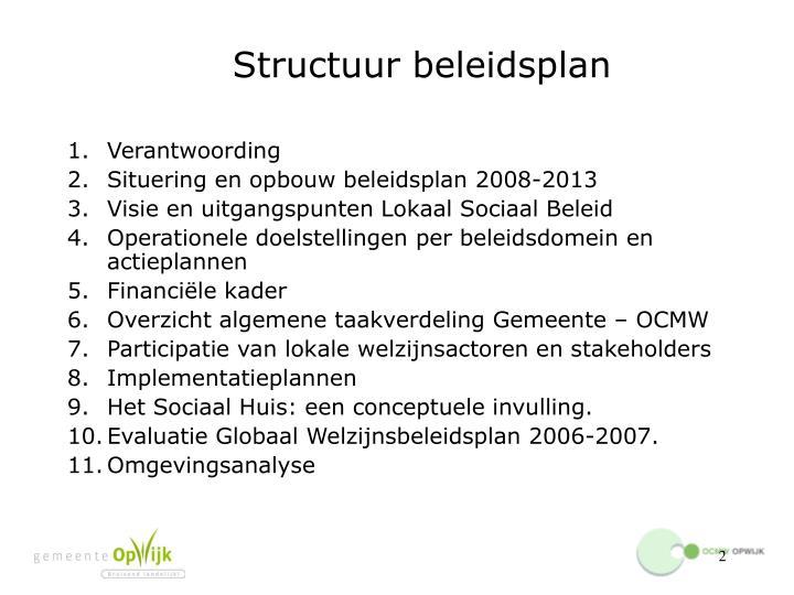 Structuur beleidsplan