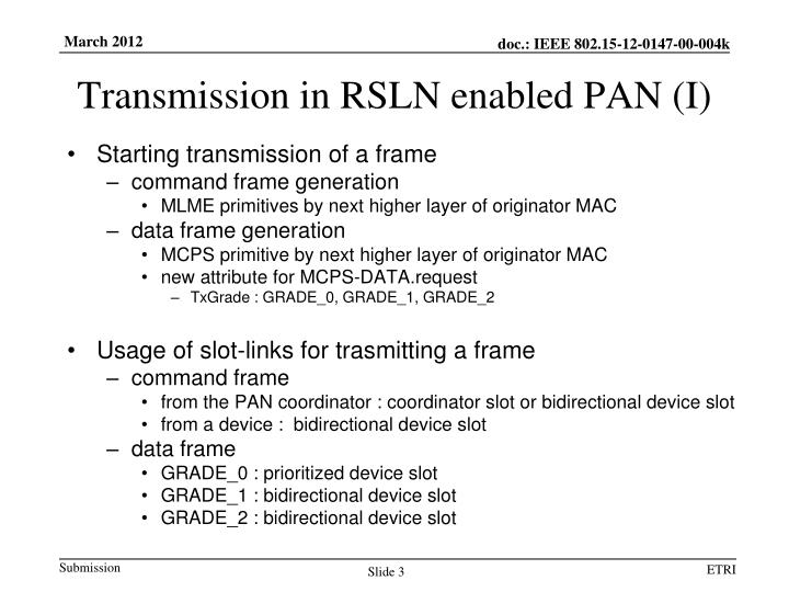 Transmission in rsln enabled pan i