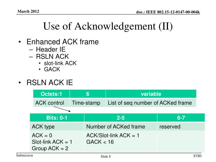 Use of Acknowledgement (II)
