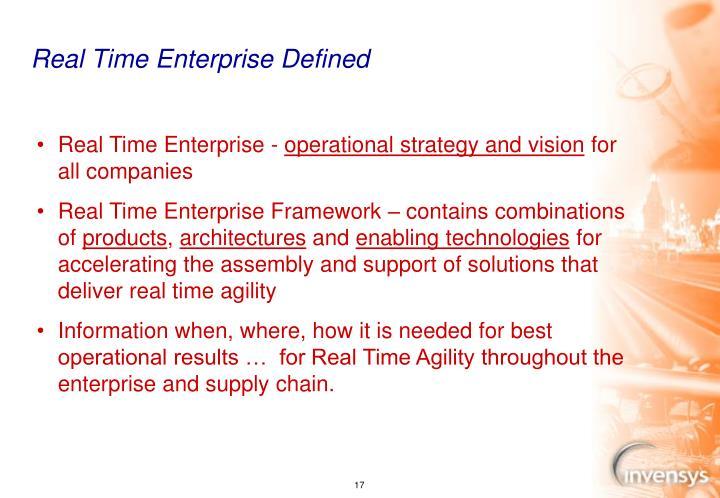 Real Time Enterprise Defined