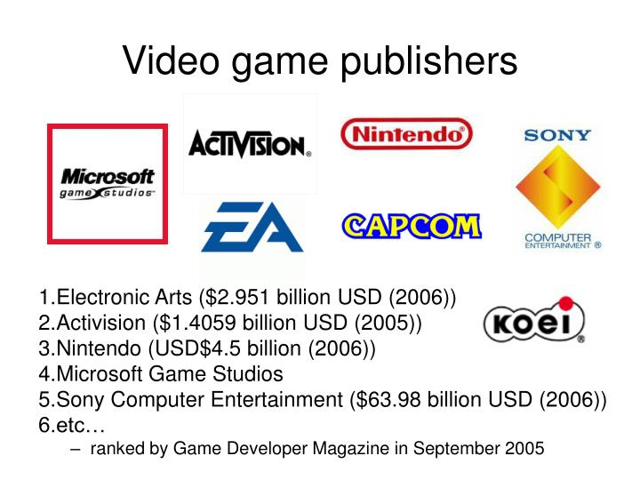 Video game publishers