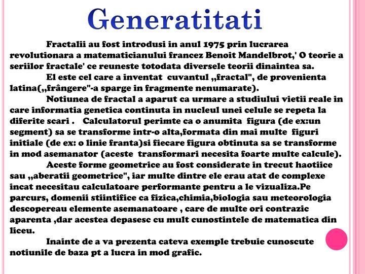 Generatitati