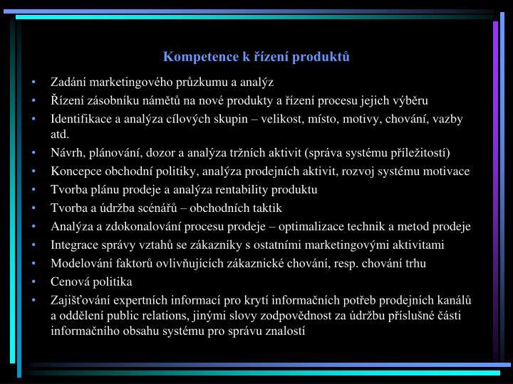 Kompetence k řízení produktů