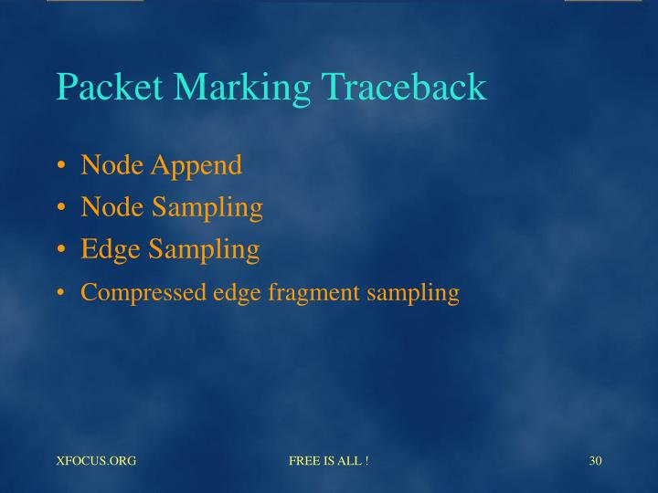 Packet Marking Traceback