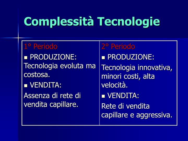 Complessità Tecnologie