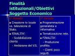 finalit istituzionali obiettivi soggetto economico
