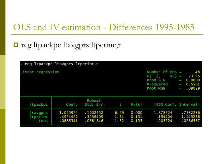 OLS and IV estimation - Differences 1995-1985