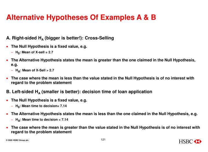 Alternative Hypotheses Of Examples A & B