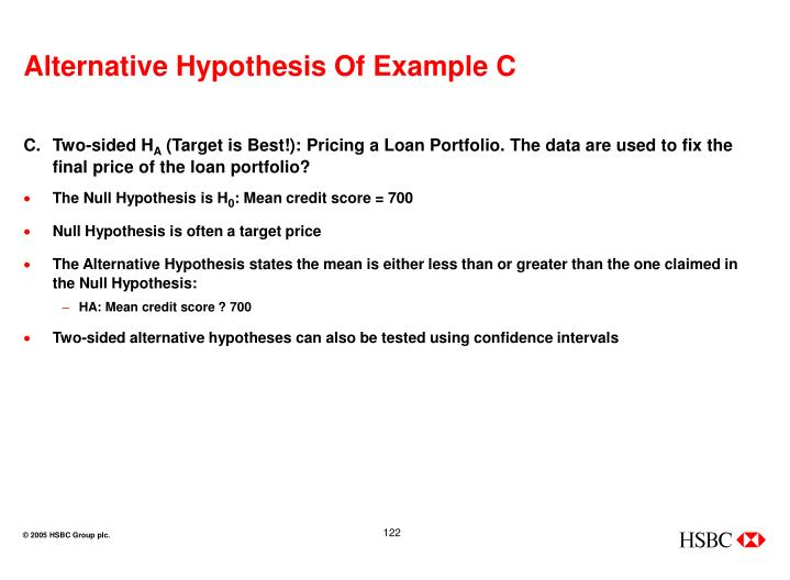 Alternative Hypothesis Of Example C