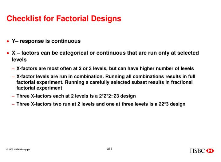Checklist for Factorial Designs