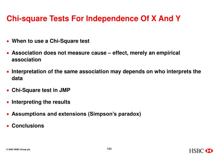 Chi-square Tests For Independence Of X And Y