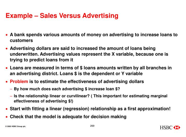 Example – Sales Versus Advertising