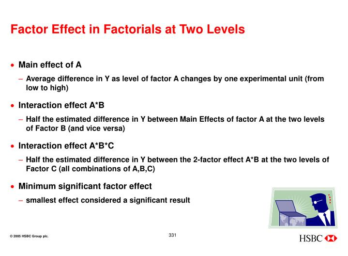 Factor Effect in Factorials at Two Levels