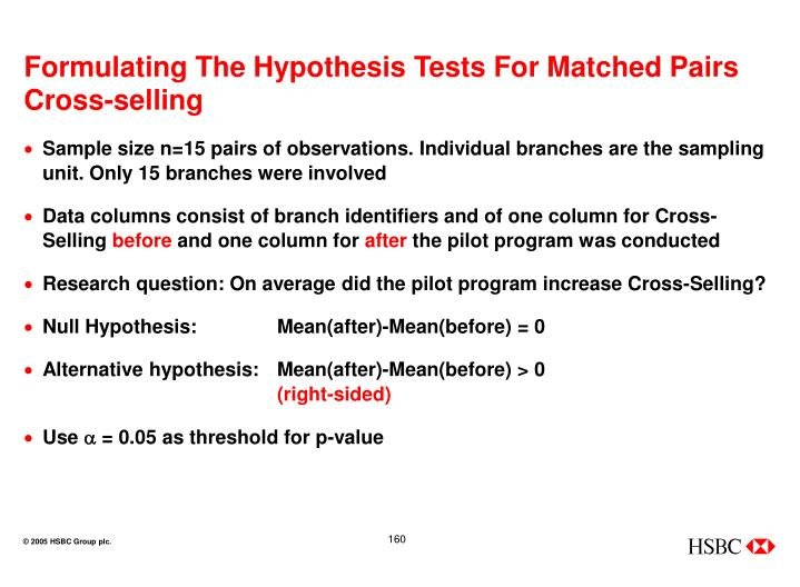 Formulating The Hypothesis Tests For Matched Pairs Cross-selling