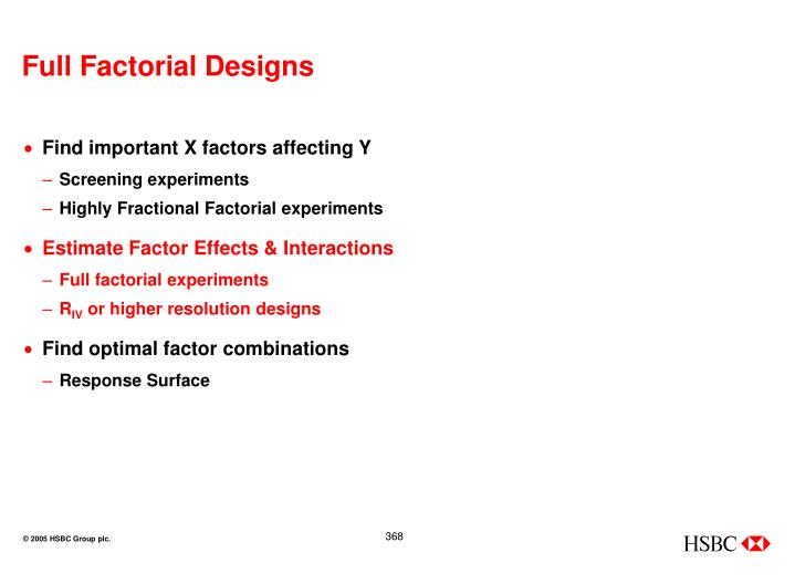 Full Factorial Designs