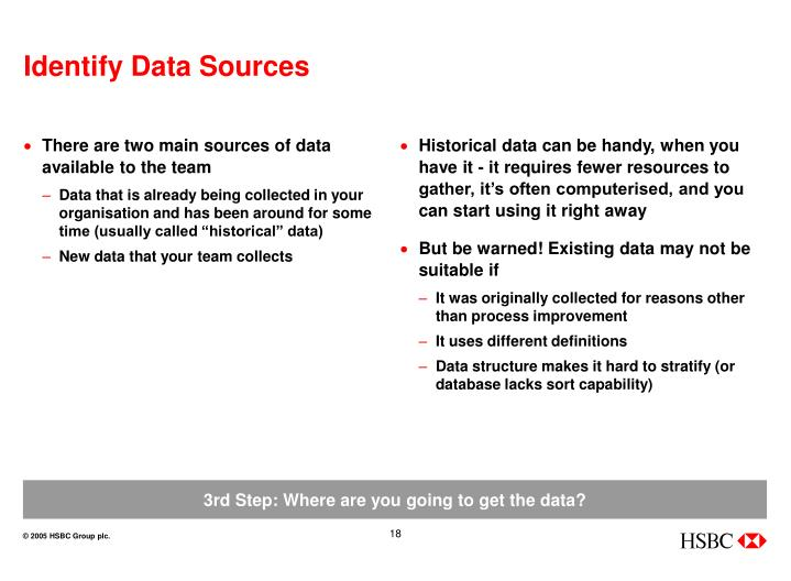 There are two main sources of data available to the team