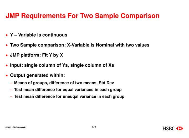 JMP Requirements For Two Sample Comparison