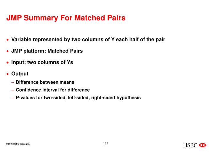 JMP Summary For Matched Pairs