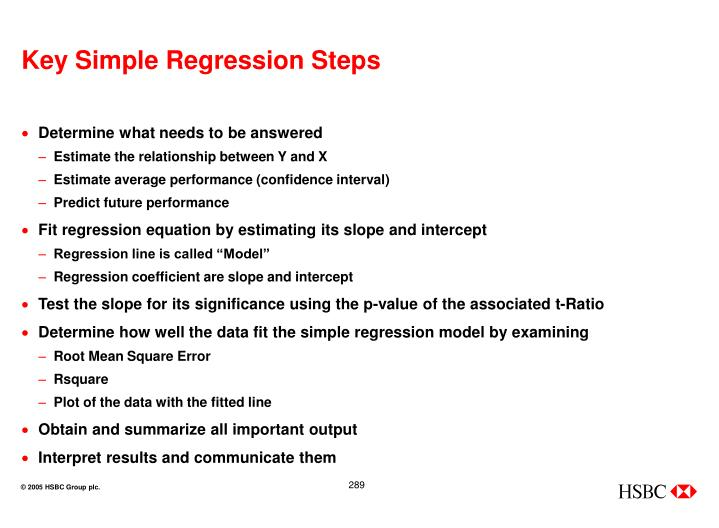 Key Simple Regression Steps