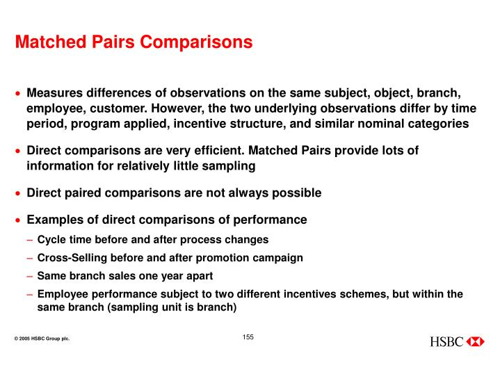 Matched Pairs Comparisons