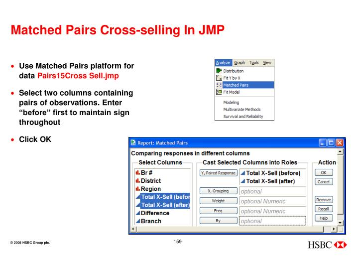 Matched Pairs Cross-selling In JMP