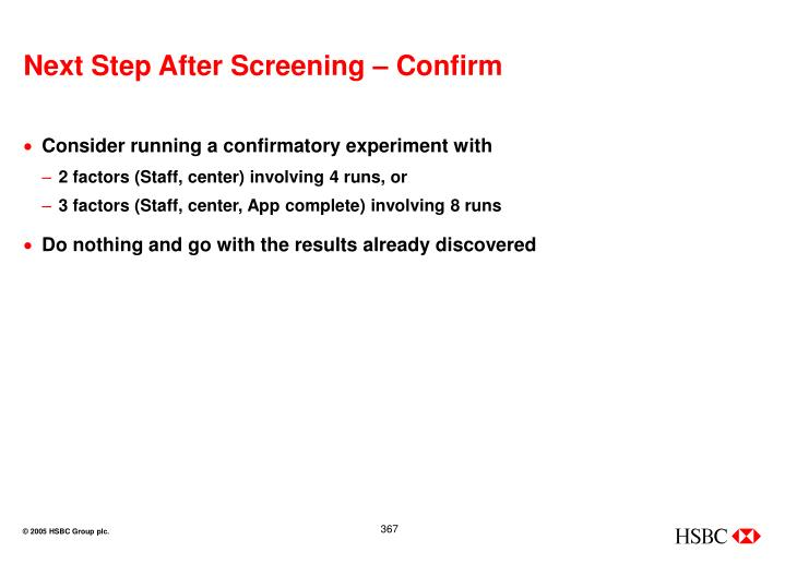 Next Step After Screening – Confirm