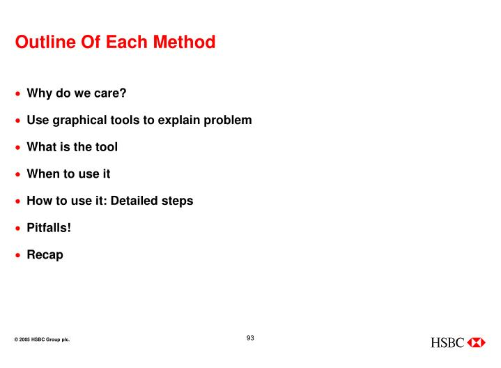 Outline Of Each Method