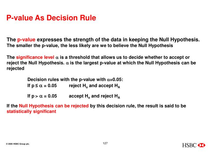 P-value As Decision Rule