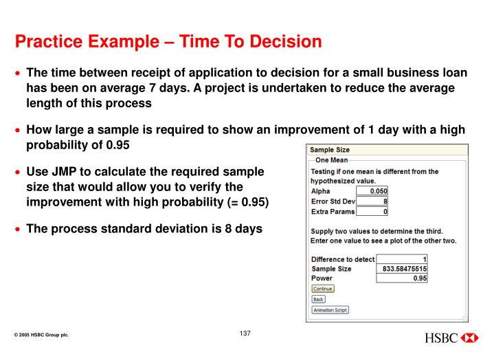Practice Example – Time To Decision