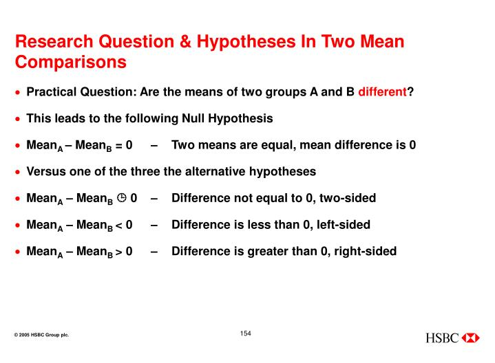 Research Question & Hypotheses In Two Mean Comparisons