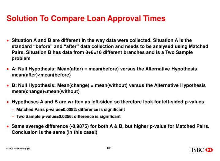 Solution To Compare Loan Approval Times
