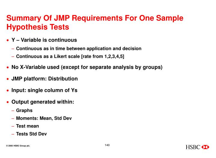 Summary Of JMP Requirements For One Sample Hypothesis Tests