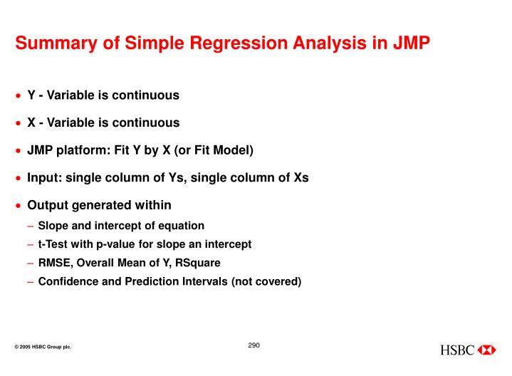Summary of Simple Regression Analysis in JMP