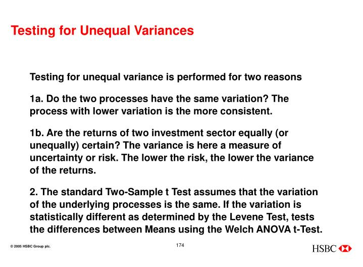 Testing for Unequal Variances