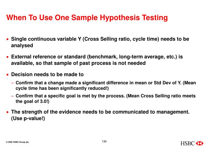 When To Use One Sample Hypothesis Testing