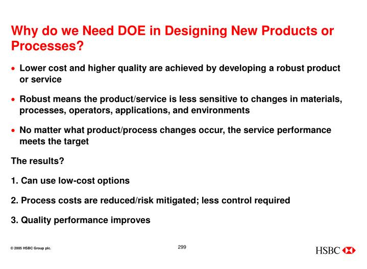 Why do we Need DOE in Designing New Products or Processes?